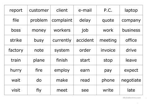business vocabulary worksheet  esl printable