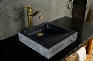 16 quot black bathroom sink granite stone basin borneo shadow