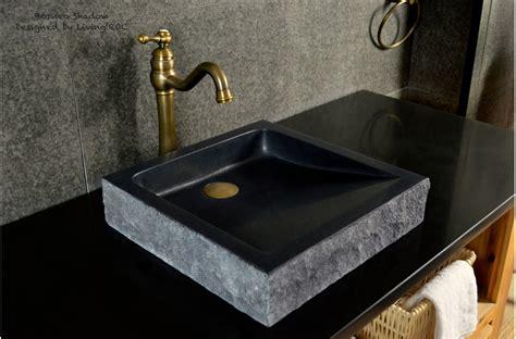 "16"" Black Bathroom sink Granite Stone Basin BORNEO SHADOW"