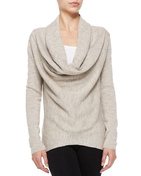 waffle knit sweater vince waffle knit sweater with draped front almondine