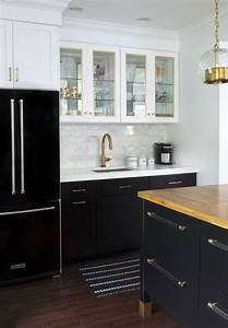 Tuxedo kitchen inspiration in black and white tile mountain for Kitchen cabinet trends 2018 combined with navy blue and white wall art