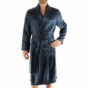 robe de chambre 100 soie pilus bleu nuit a motifs ton sur With robe de chambre homme soie