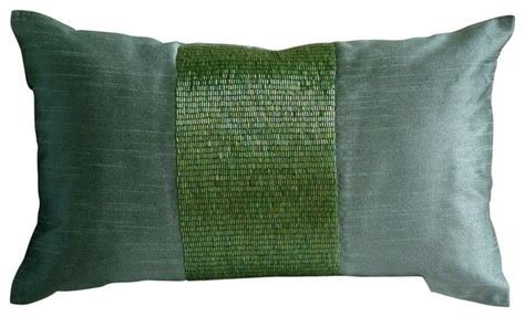 Maddie Beaded Lumbar Pillow Cover Traditional by Shop Houzz The Homecentric Green Metallic Beaded Silk