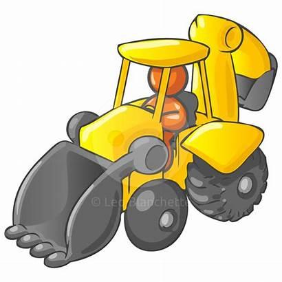 Digger Cartoon Clipart Backhoe Construction Driving Truck