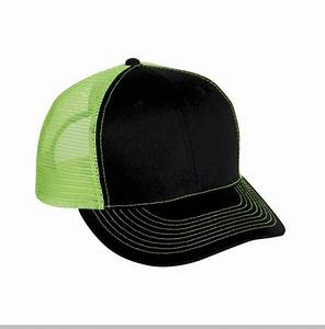 Two Tone Trucker Hats Black Neon Green Blank Trucker Cap