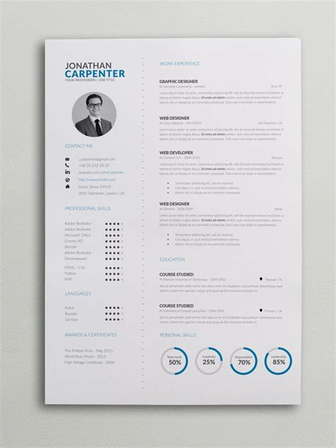 clever resume  charts word psd