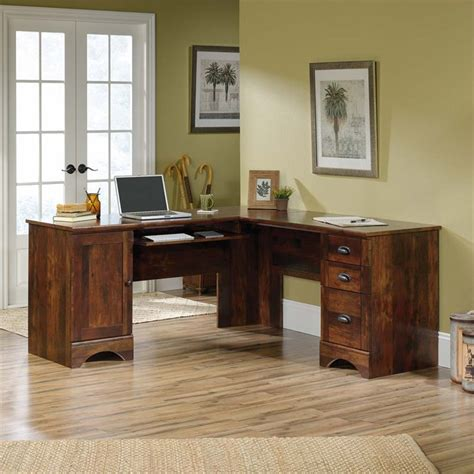 sauder harbor view corner computer desk curado cherry finish sauder harbor view corner computer desk in curado cherry