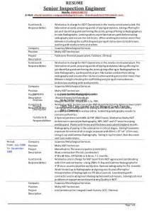 ndt inspector resume exles senior inspection engineer v chandrasekhar resume as on 01 12 2014