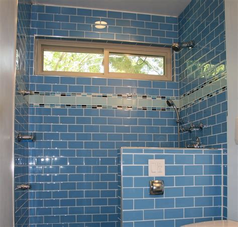 Great Blue Themes Walk In Shower Decor With Blue Subway