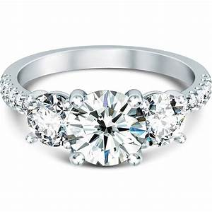 home three stone scallop prong side diamond engagement With 3 stone diamond wedding rings
