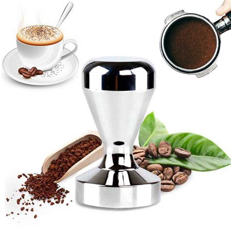 See more ideas about coffee accessories, coffee thermos, best coffee. 1Pcs 51mm Base Stainless Steel Press Coffee Tamper Coffee Barista Espresso Flat Tamper Coffee ...