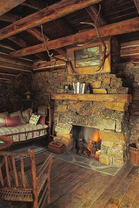 Pin by Tina Olivier on My Happy Place | Cabin fireplace ...