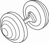 Barbell Clipart Line Clip Weight Weights Cliparts Equipment Dumbbell Sports Library Plate Sweetclipart Clipartbarn sketch template