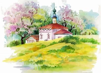 Watercolor Scenery Drawing Landscape Painting Getdrawings Drawings