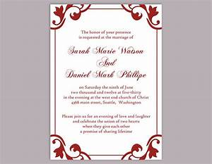 diy wedding invitation template editable word file instant With red blank wedding invitations templates