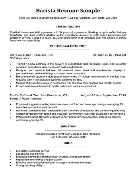 Resume Barista by Barista Resume Sle Writing Tips Resume Companion