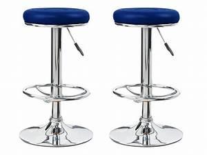 Tabouret De Bar Bleu : lot de 2 tabourets de bar tony bleu en simili cuir 52986 53778 ~ Teatrodelosmanantiales.com Idées de Décoration