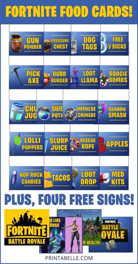 fortnite food cards party printables printabelle