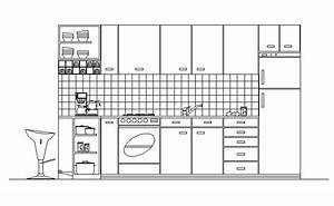 CAD Drawing Of Kitchen In Elevation Cadblocksfree CAD