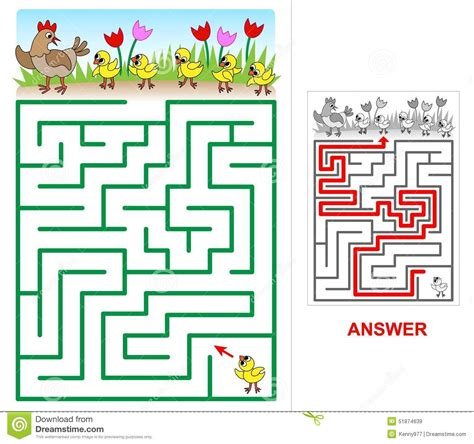 lost chicken maze for stock vector image 51874639