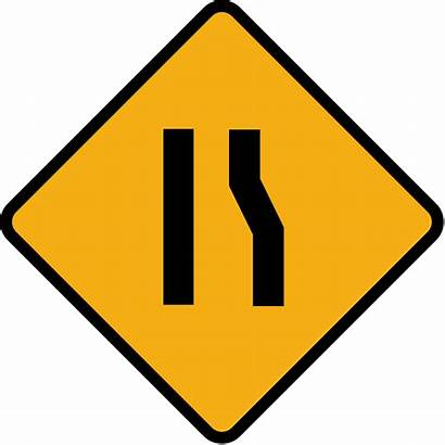 Road Sign Narrow Right Narrows Diamond Svg