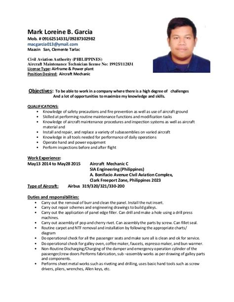 Ojt Resume Objectives For Aircraft Maintenance by Sle Resume For Ojt Aircraft Maintenance Resume