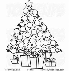 Cartoon Black and White Outline Design of a Christmas Tree ...