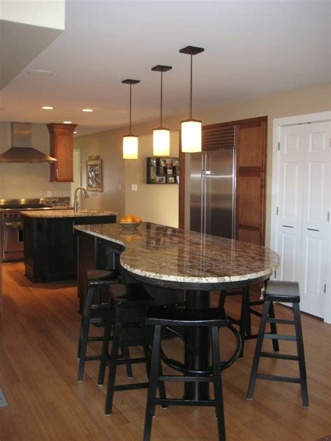 Extensive Kitchen Island With Round Table Mixed Large