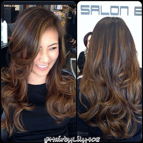 Dark Brown Hair with Balayage Highlights