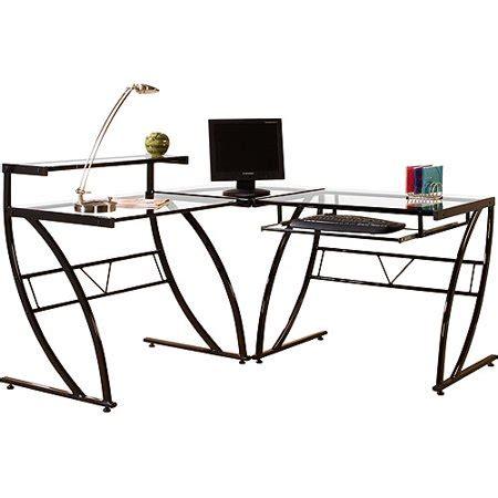 l shaped glass desk florence l shaped glass desk black and clear walmart