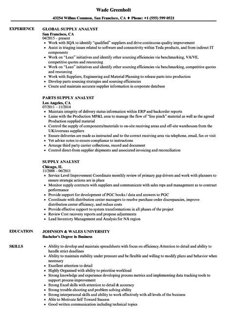 Supply Chain Analyst Resume by Supply Analyst Resume Sles Velvet
