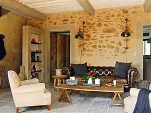 deco salon pierre apparente With idee deco maison en pierre