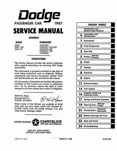 1967 Dodge Charger  Coronet  Dart Factory Service Manual