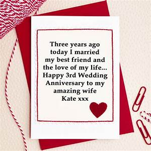personalised 3rd wedding anniversary card by jenny arnott With 3rd anniversary wedding gift