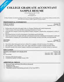 free college resume sles college graduate accountant template resume