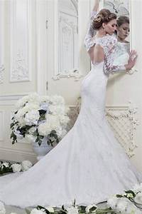 Fashion white ivory mermaid long sleeve lace wedding for Long white wedding dresses