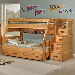 Twin over Full Bunk Bed with Stairs for Safety | atzine.com