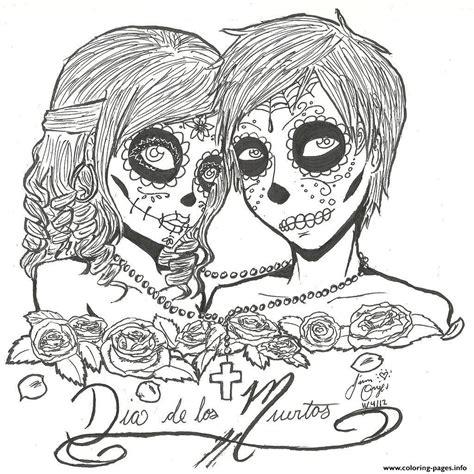 Print Skull Sugar Couples Love Coloring Pages Sugar