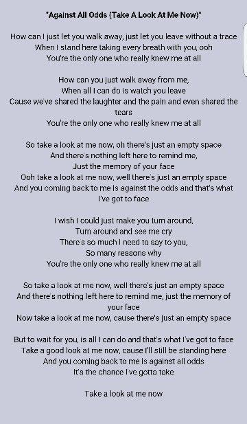 Testo Best Of Me Phil Collins Take A Look At Me Now Lyrics In 2019
