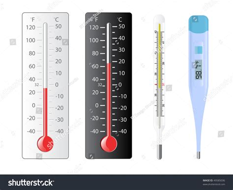 Four Different Types Of Thermometers With Several
