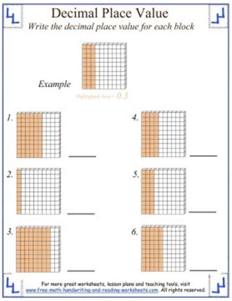 decimals tenths  hundredths worksheets decimals
