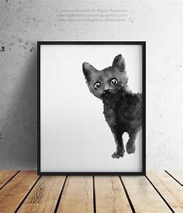 Black Cat Art Print Kitten Giclee Ink Painting Animal