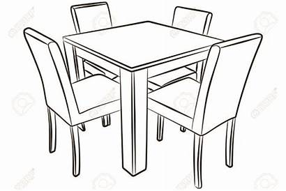 Table Drawing Dining Kitchen Clipart Chair Chairs