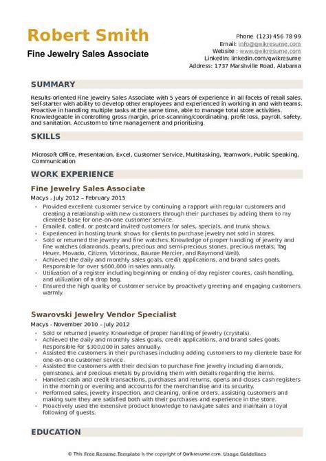 resume sles jewelry sales fine jewelry sales associate resume sles qwikresume