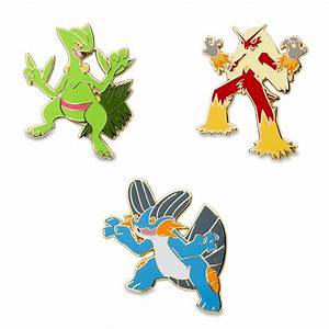 Sceptile, Blaziken, and Swampert Pokémon Pins | Hoenn ...