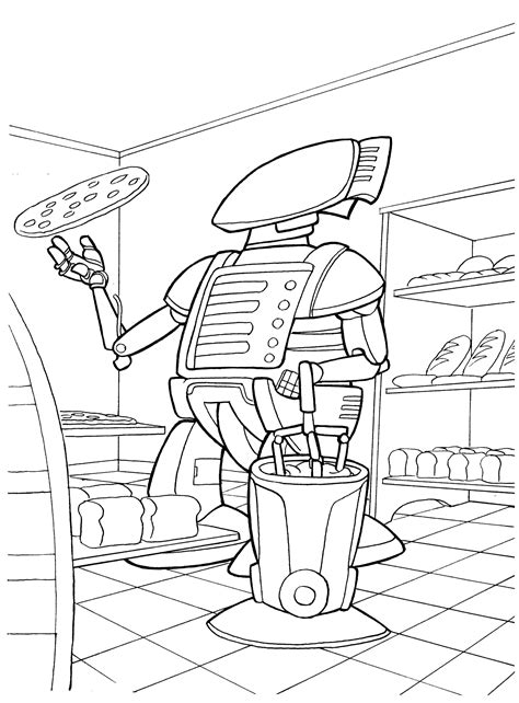 coloring page robot chef