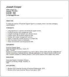 it technical support resume technical resume exles