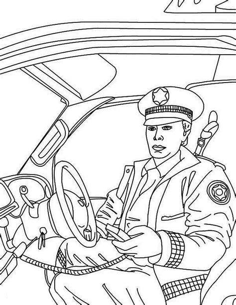 police man reporting  head quarter  police car