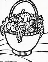 Coloring Basket Fruit Thanksgiving Fruits Baskets Drawing Colouring Adult Drawings Fall Colour Sheets Vegetable Autumn Simple Numerous Popular Colorful Computer sketch template