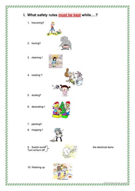 safety rules  home worksheet  esl printable